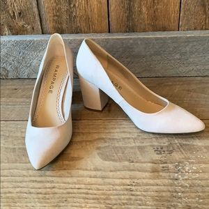 RAMPAGE Suede Cream Block Heel Pumps
